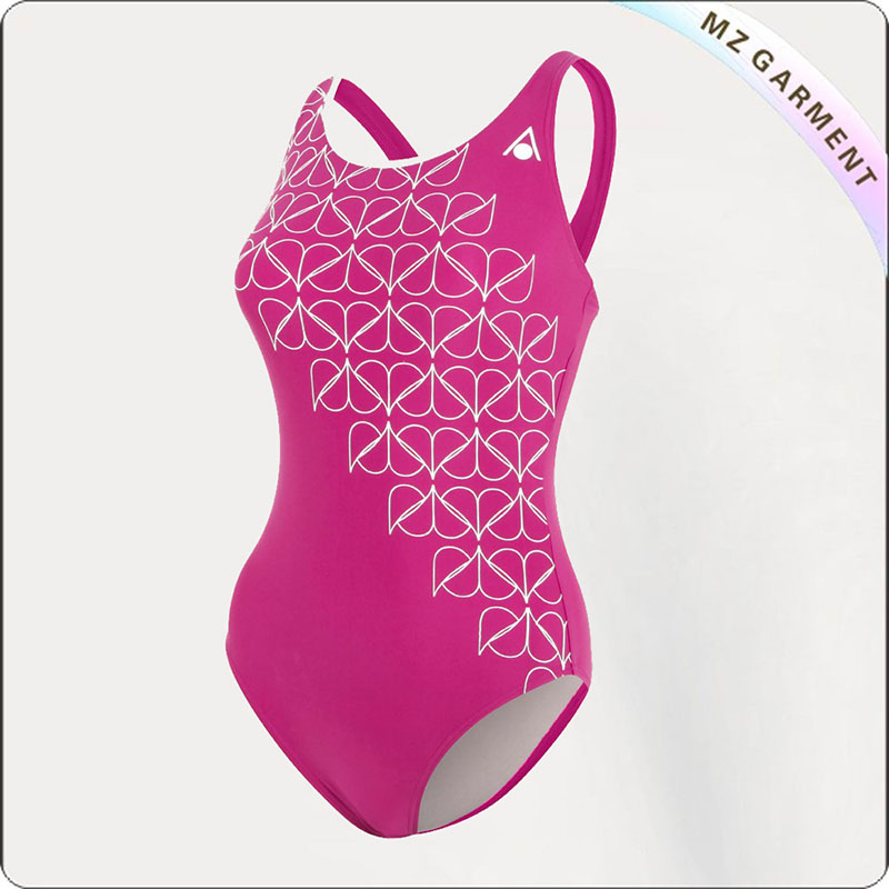 Women Dark Pink & White Competitive Swimsuit
