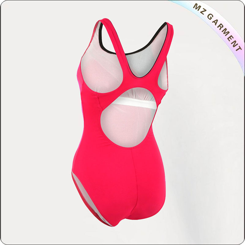 Women Red & Black Competitive Swimsuit