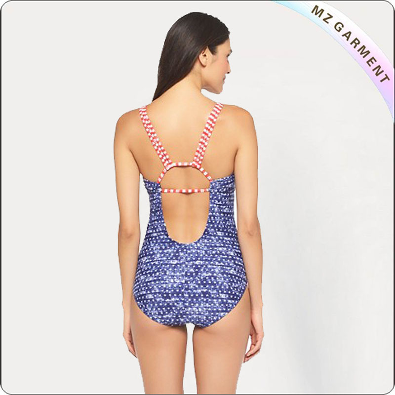 Blue Animal Stripe One Piece Monokini