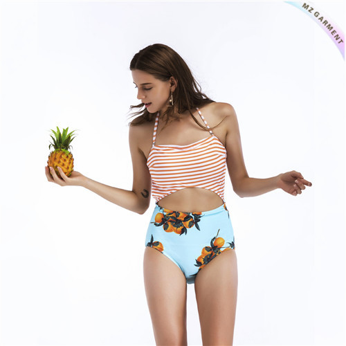 Halter One Piece Swimsuit, Cut-out, Multicoloured, Stripe, Botanical