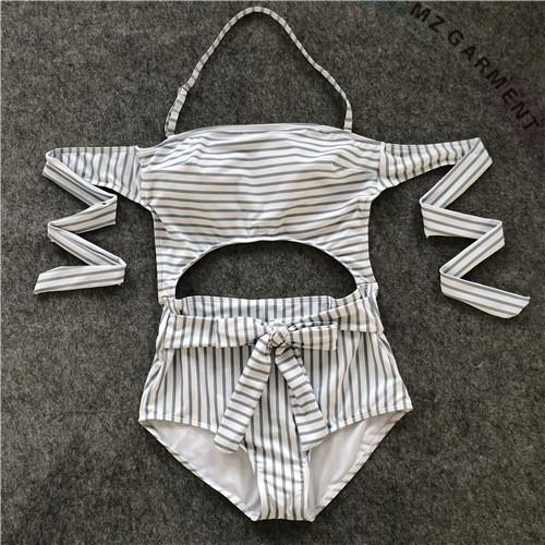 One Piece Swimsuits, Halterneck, Strap-back, Pinstripe, Custom Design