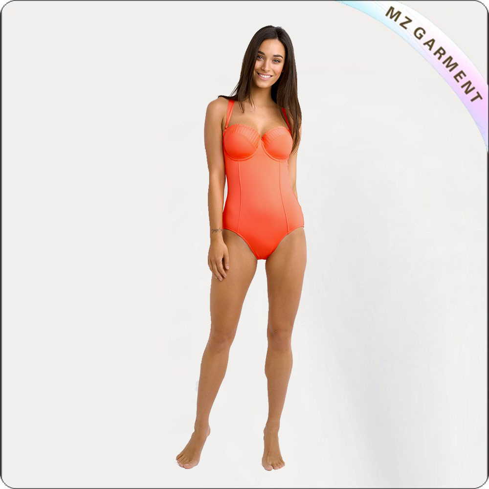 Orange Bandeau One Piece Swimsuit