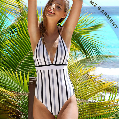 Plunge Front Bathing Suits, One Piece, Black, White & Grey