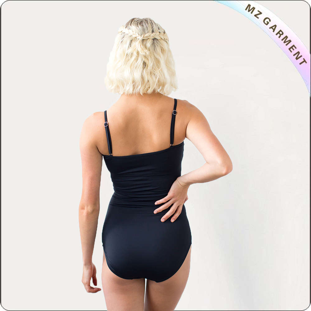 Ruched All Black One Piece Swimsuit