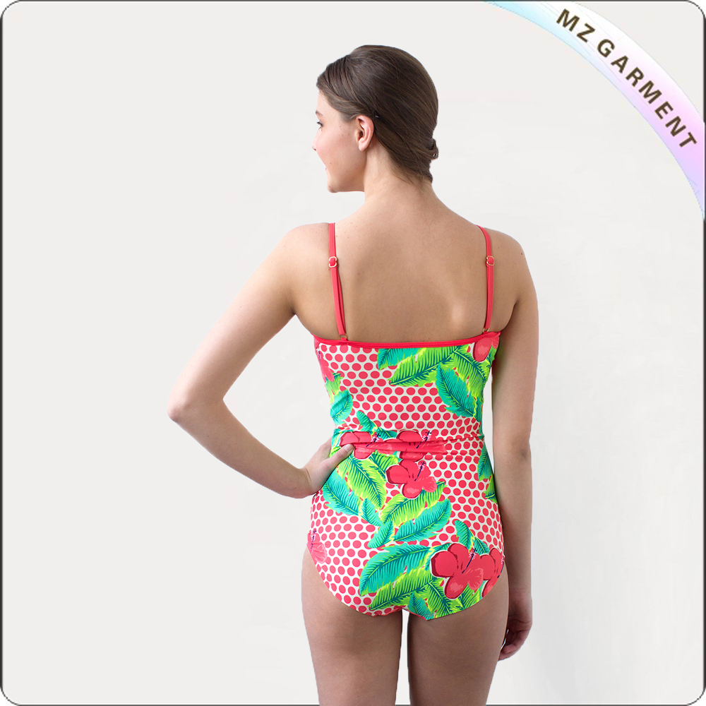 Ruched Plam Dot One Piece Swimsuit