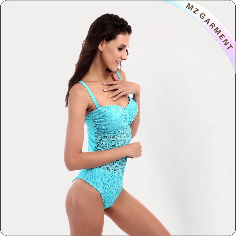 Turquoise Royal Lace Bandeau One Piece Swimsuit