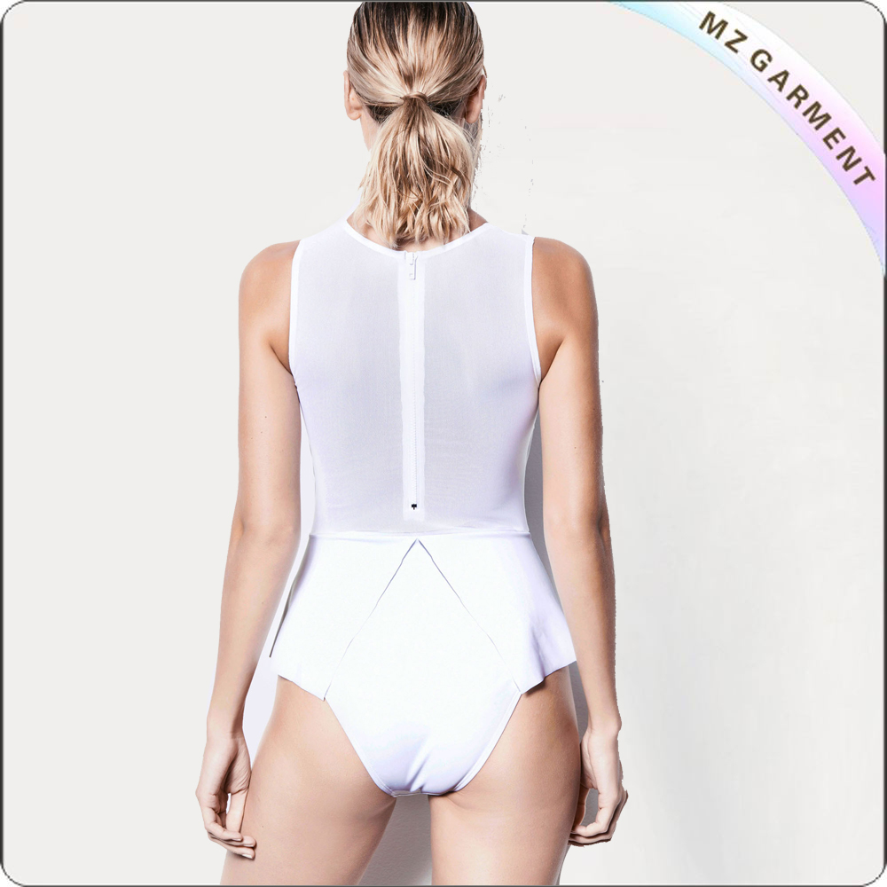 White See-Through One Piece Swimsuit