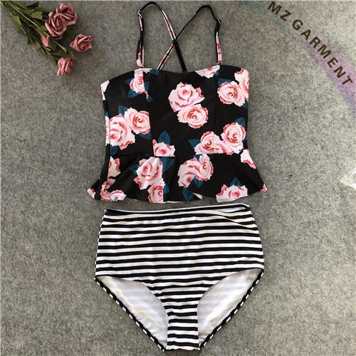 Cute Bathing Suits, Flowers Printed, Adjustable Shoulder Straps