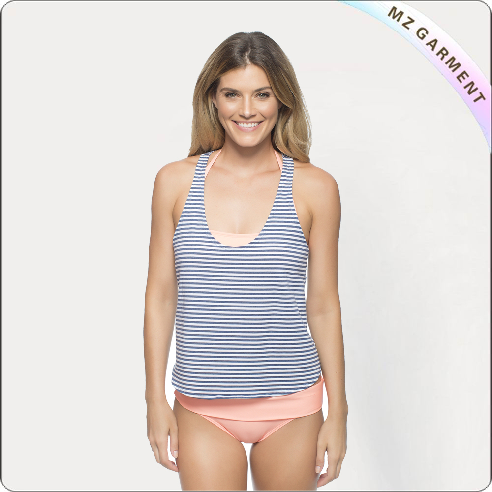 Stripe Double Dip Tankini & Solids Bottom