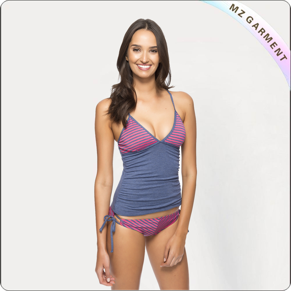 Stripe Tankini Top and Tunnel Side Bottom