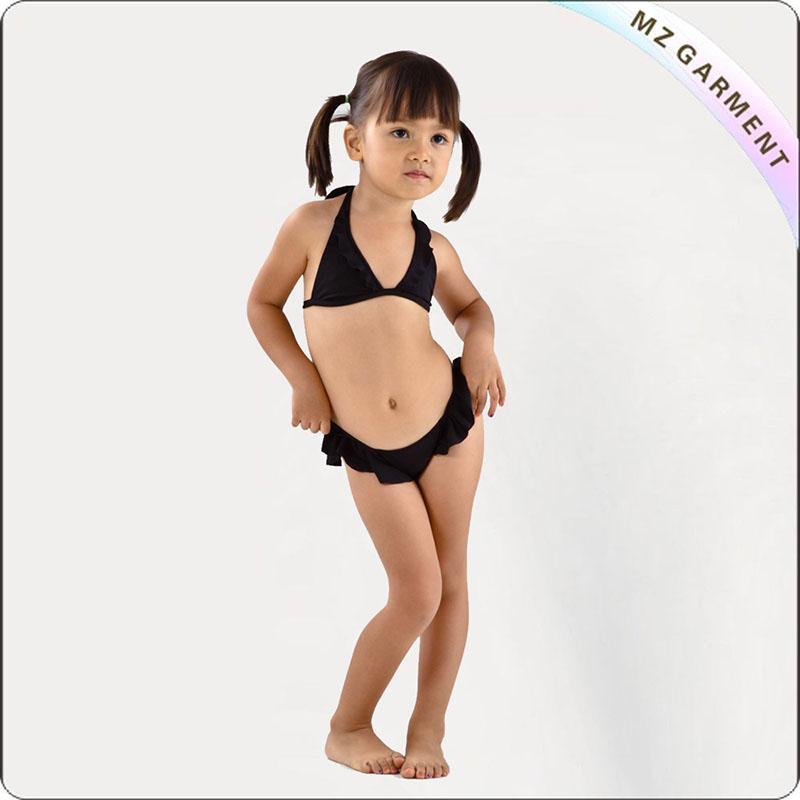 Kids Black Athletic Bra Bikini Set