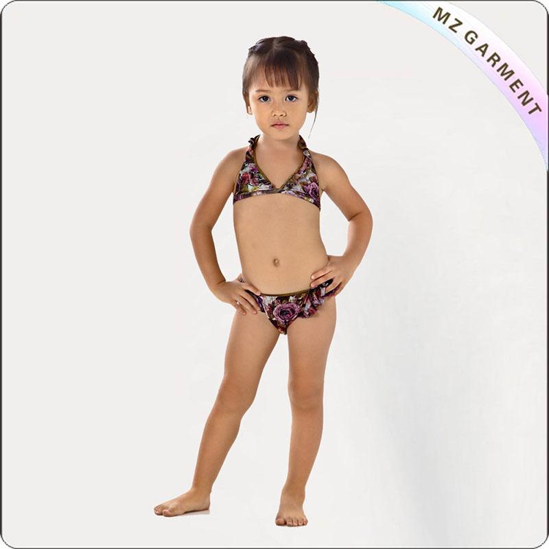 Kids Little Girl Floral Printed Bikini