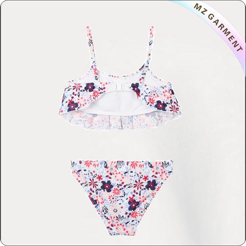 Kids Navy Floral Print Bikini