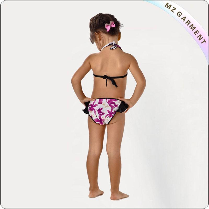 Kids Purple Floral Print Bikini