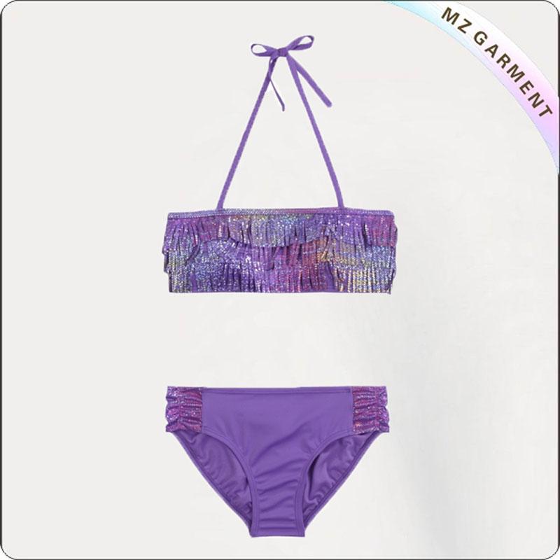 Kids Purple Tassels Bikini