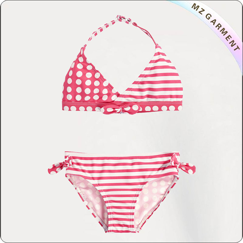 Kids Red Striped Girl's Bikini