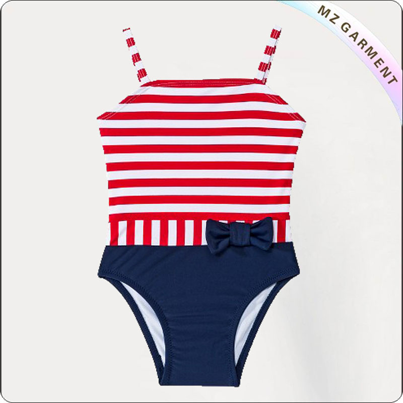 Kids Red Striped with Navy Bottom Bikini