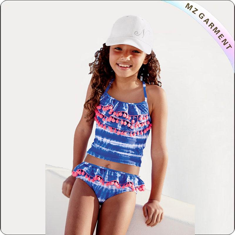 Kids Striped with Floral Bikini