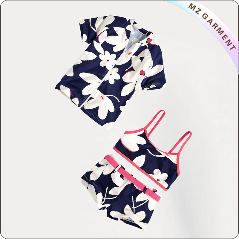 Kids White Floral Print with Pink Lace Bikini