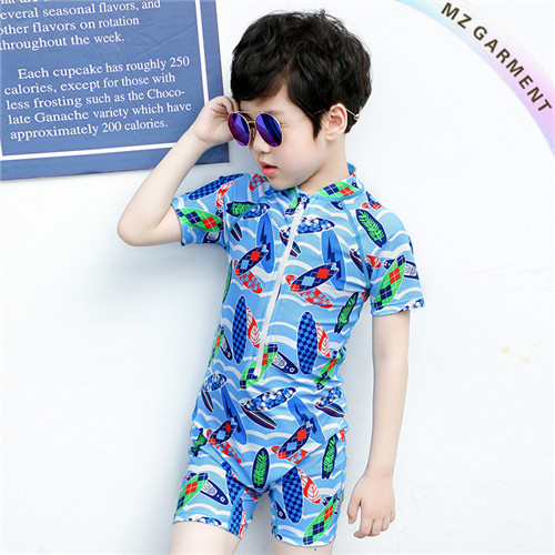 Boy's One Piece Sun Suit, Nylon & Spandex, Short Sleeve, Custom