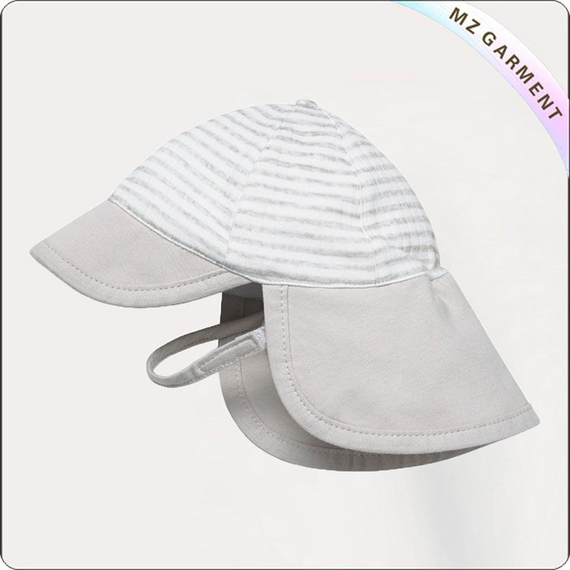 Baby Beige Striped Face Protective Sunhat