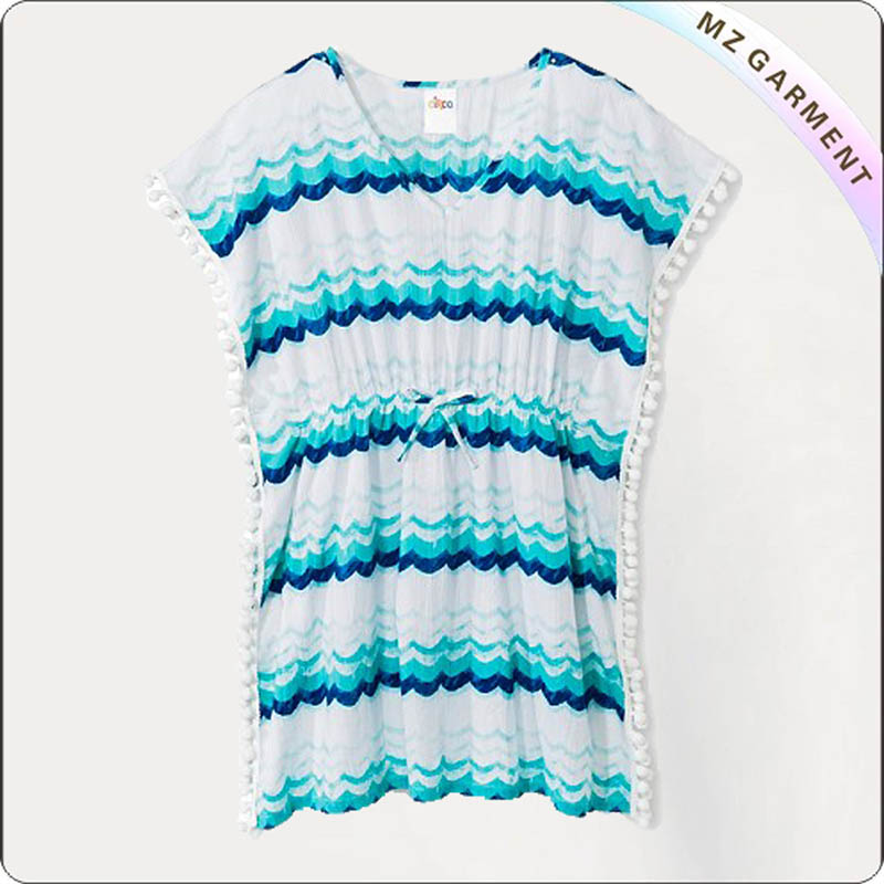 Blue Stripped Swimming Cover Up Dress