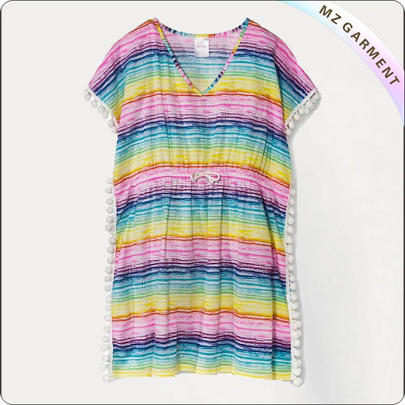 Rainbow Stripped Swimming Cover Up Dress