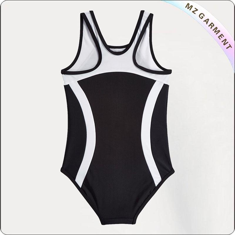 Girls' Black & White Swimsuit