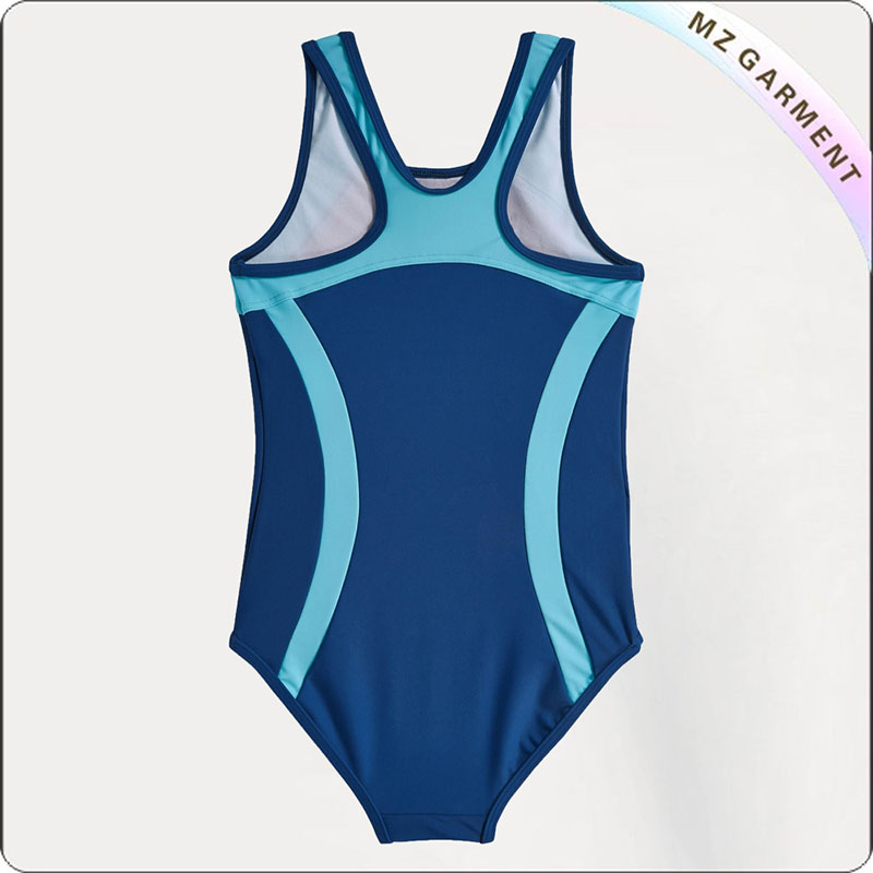 Girls' Blue & Black Swimsuit