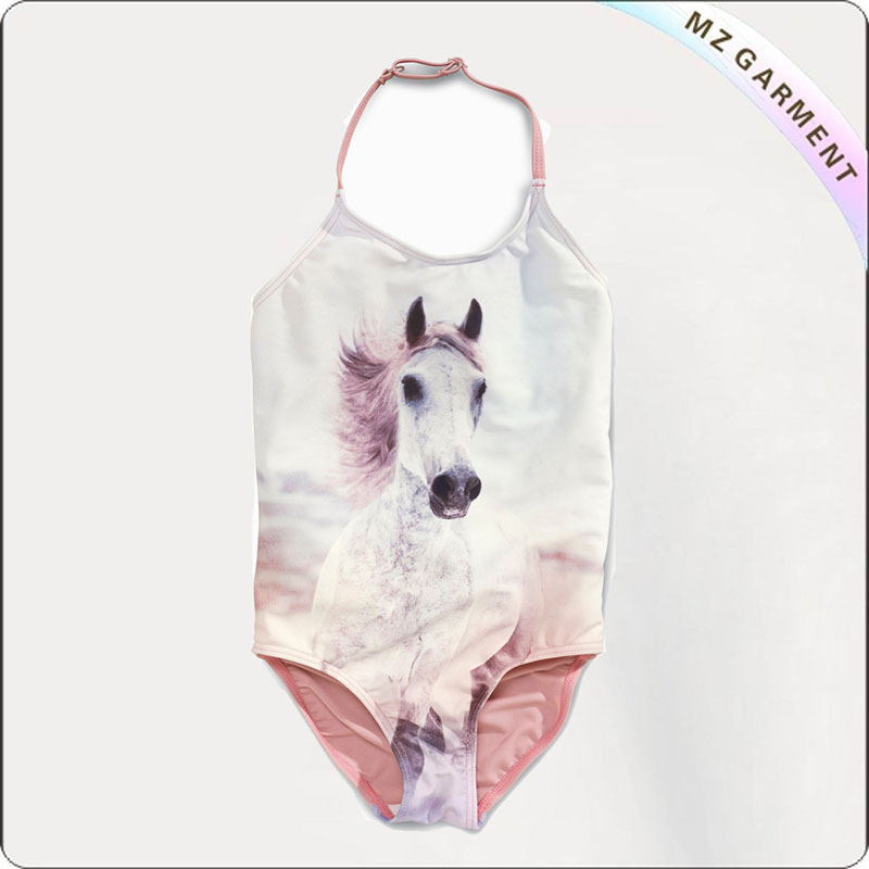 Girls' Pink Printed Horse Swimsuit