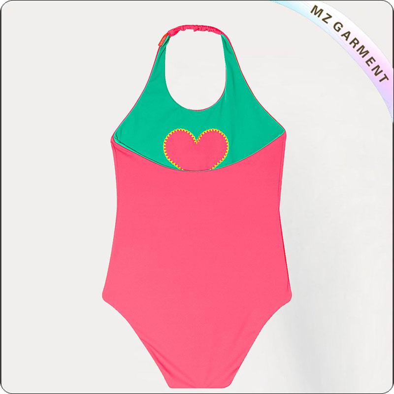 Girls' Reversible Heart Swimsuit