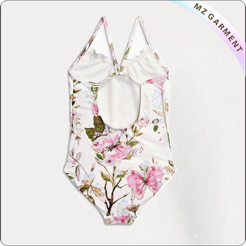 Kids Cream Printed Flower Swimsuit