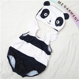 Kids Panda Swimsuit, Nylon & Spandex Materials, with Cute Panda Cap