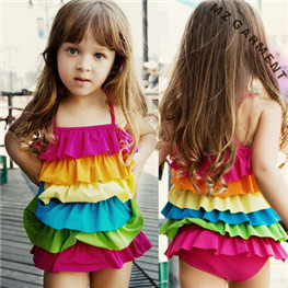 Kids Ruffle Swimsuit, 82% Nylon, 18% Spandex, XS-XL, Custom