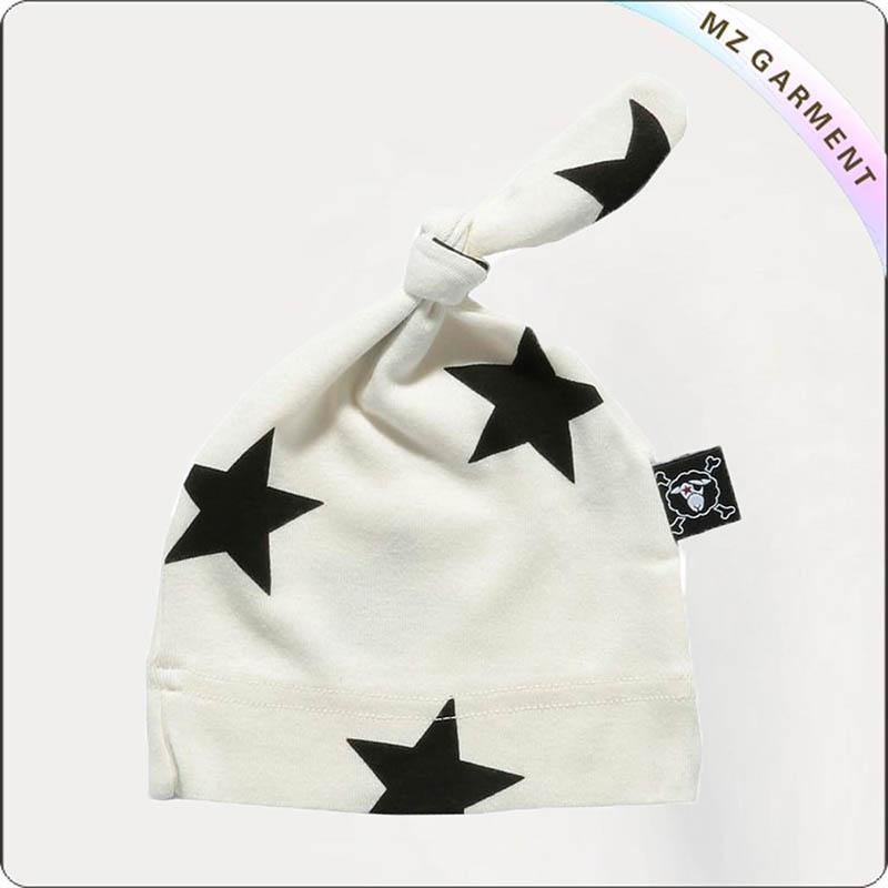 Kids Star White Knotted Cap