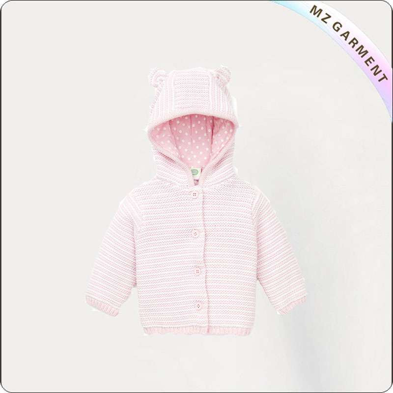 Pink Open Front Hooded Cardigan