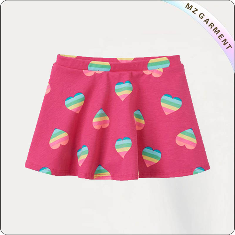 Kids Colorful Hearts Skirt