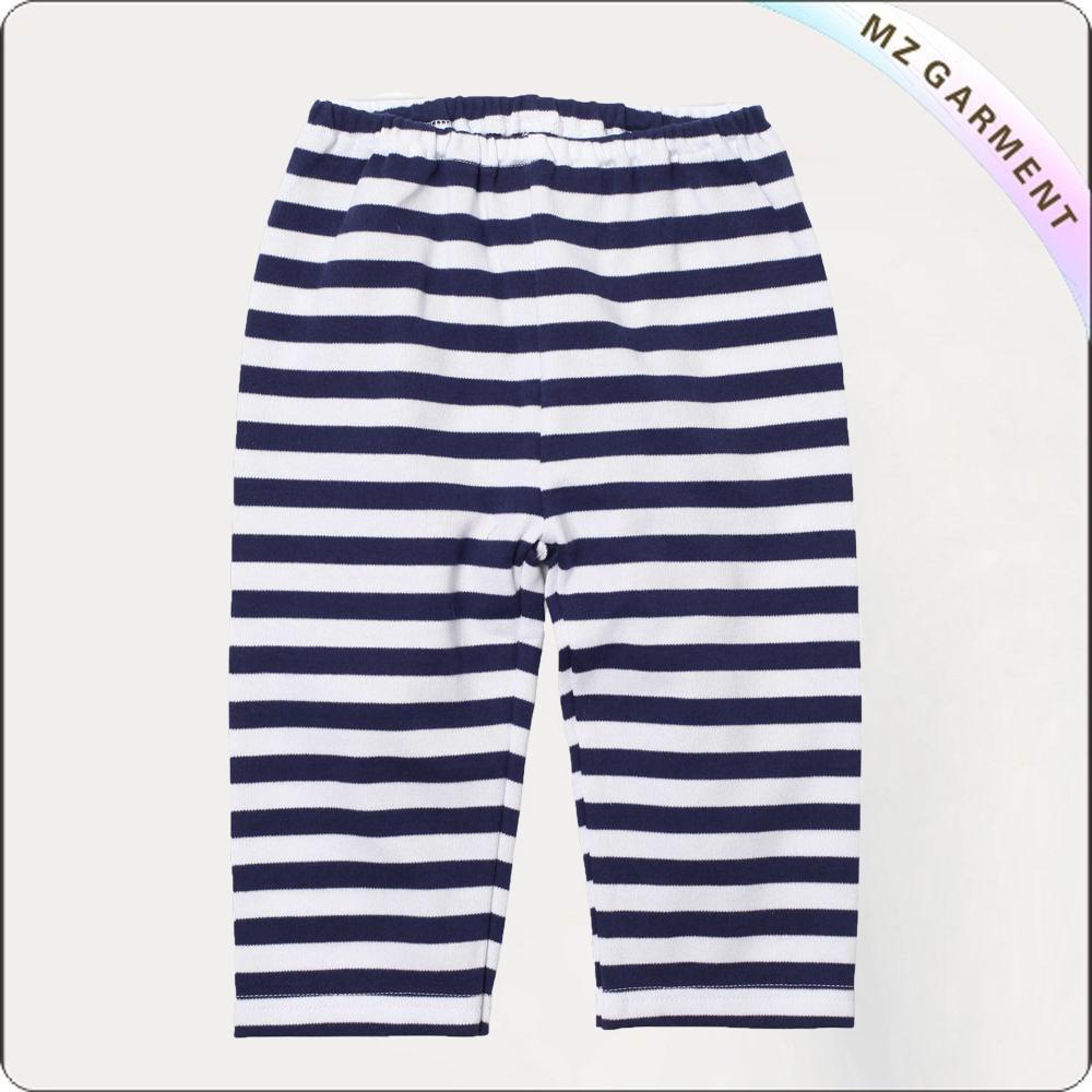 White Striped Navy Pants