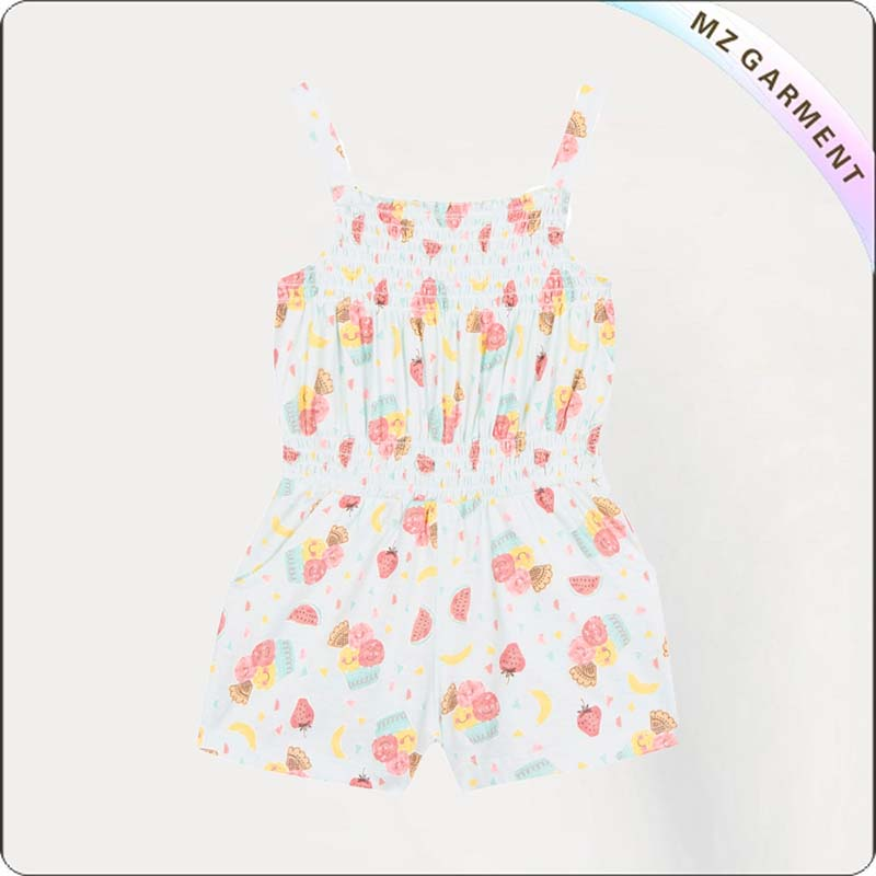 Girls Light Green Ice Cream Print Playsuit