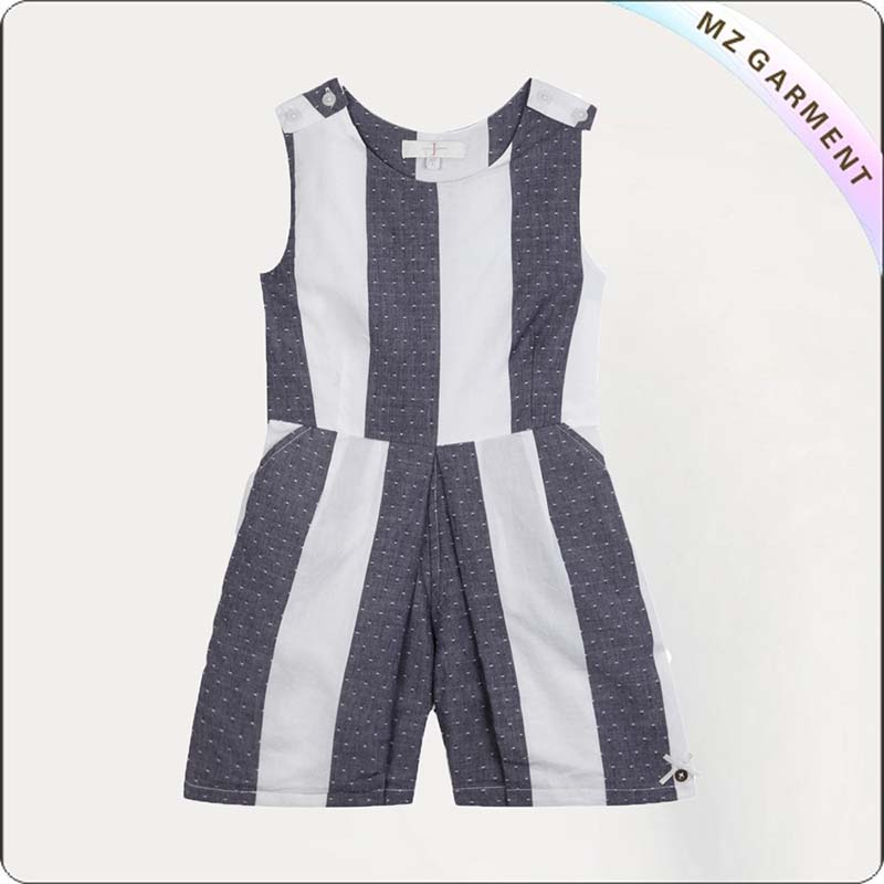 Black White Striped Playsuit