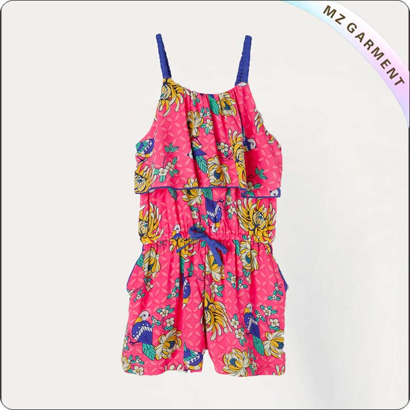Chrysanthemum Print Keg Short Playsuit