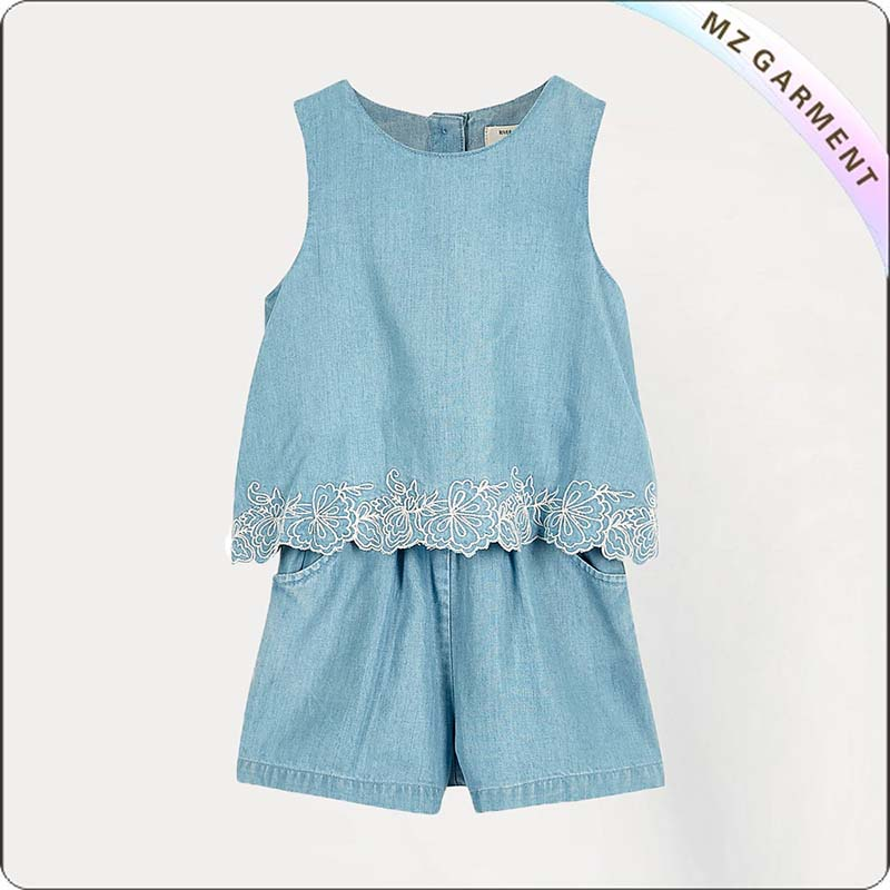Girls Mini Blue Denim Snapsuit