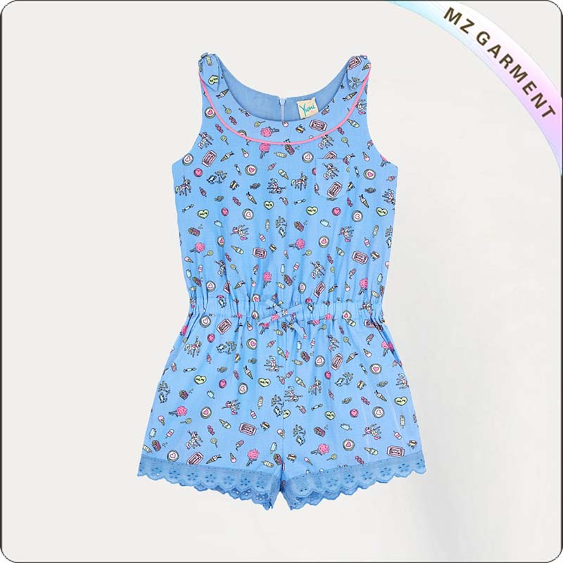Girls Pier Print Snapsuit