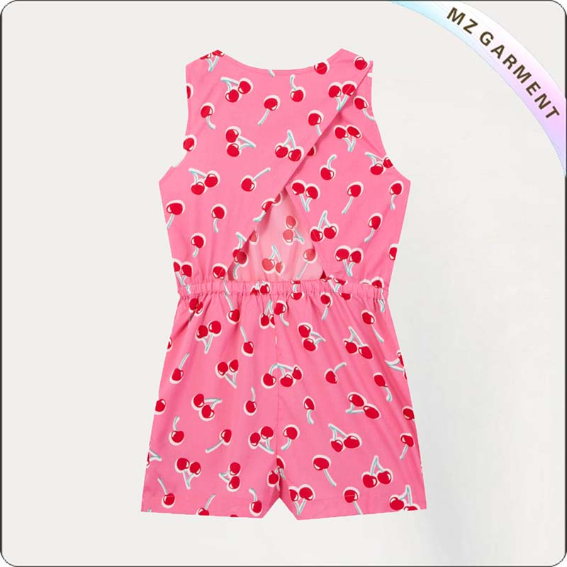 Girls Pink Cherry Print Playsuit