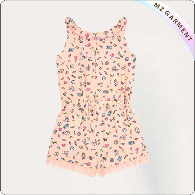 Girls Pink Pier Print Snapsuit