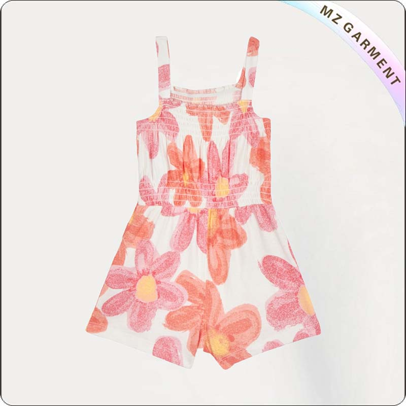 Girls Red Floral Print Snapsuit