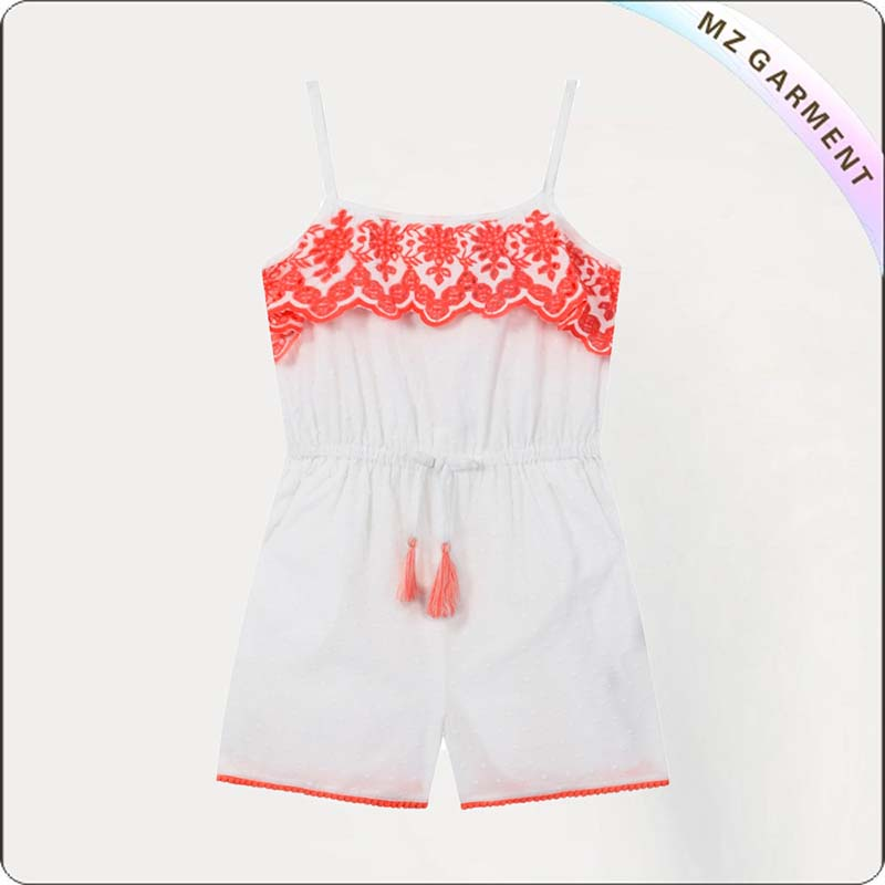Girls White Embroidered Playsuit
