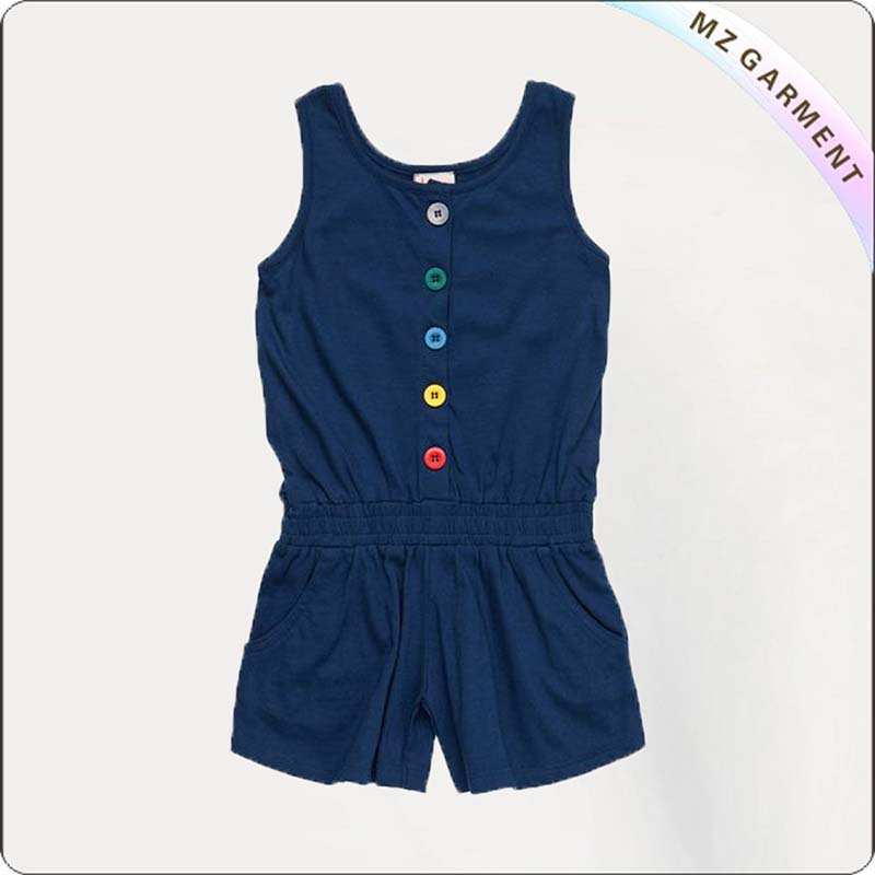 Navy Playsuit with Rainbow Botton