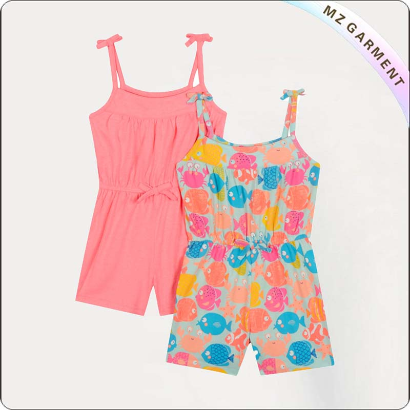Pink and Multi-Color Fish Print Playsuit