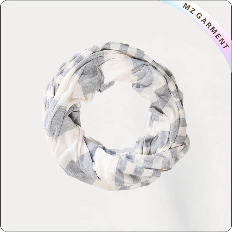 Cotton White & Grey Stripe Scarf